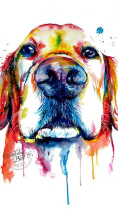 Colorful Golden Retriever Art Print - Print of my Original Watercolor Painting #ad