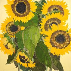 Here you will find a selection of Helen Lucas' sunflowers paintings. The beautiful yellows and golds of Helen Lucas' sunflowers are unmistakable, making these paintings one of her most famous and sought after pieces. Large Flowers, Wild Flowers, Sun Flowers, Sunflower Art, Sunflower Fields, Nz Art, Canadian Artists, Outdoor Art, Painting & Drawing