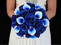 Only I want black where the white is. Royal Blue Wedding Flower Package