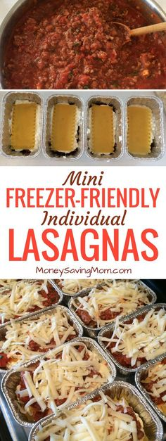 These mini individual lasagnas are freezer-friendly and can be made ahead of time! They're perfect for on-the-go lunches or dinners! They also work great for single people, busy schedules, and work/school lunches! #freezerfriendly #minilasagna #easylasagna