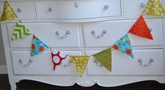Monster Bright Colors Boys Birthday Fabric Bunting by LoveSews