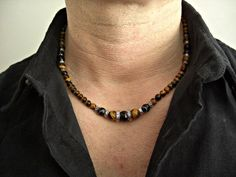 Faceted Black Lace Agate,Tiger Eye,Silver accents Men's Necklace, Men's Jewelry. $33.95, via Etsy.