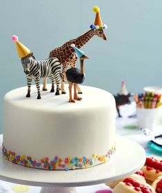 Cupcake Birthday Cake, First Birthday Cakes, Birthday Hats, Animal Birthday Cakes, 60th Birthday, Zoo 1st Birthday Party, Themed Birthday Parties, Children Birthday Party Ideas, Birthday Cake Design