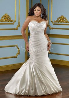 Sweetheart Satin Court Train Beaded Trumpet Empire Waist Wedding Dress