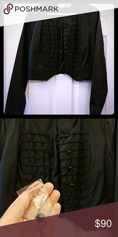 Cropped leather jacket Very cute jacket with detailed buttoning down the front. One button is missing, but will ship with the spare button. Only worn once, great shape.Mii Miilla Clothing Jackets & Coats
