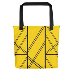 XAVI Yellow and Black Tote Bag. From our unique, beautiful, personal, and stunning tote bag collection. Beautiful Lines, New Journey, Black Tote Bag, Shopping Bag, Reusable Tote Bags, Yellow, Unique, Shopping Bags