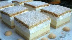 Kremes Recipe, Cheese Sticks Recipe, Cookie Recipes, Dessert Recipes, Flan Cake, Waffle Cake, Traditional Cakes, Hungarian Recipes, Homemade Cakes