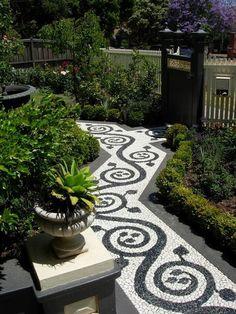Fabulous Small Garden With Stone Path 01 Pebble Mosaic, Mosaic Diy, Small Garden With Stones, Front Yard Walkway, Mosaic Garden Art, Garden Paths, Backyard Landscaping, Landscaping Ideas, Backyard Ideas