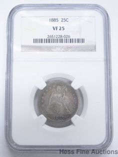 1885 Rare Date NGC 25c Very Fine VF25 Seated Liberty Quarter Silver Coin