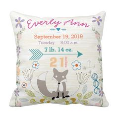 Birth Stats Baby Girl Woodland Creatures Fox Pillow. Perfect for Finnley's room!