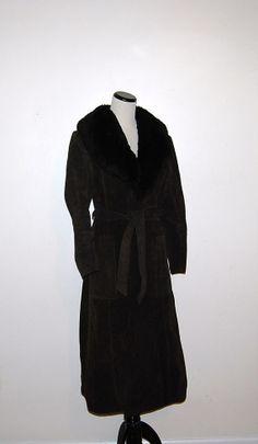 Vintage Coat Brown Suede with Faux Fur Wrap by CheekyVintageCloset, $54.00