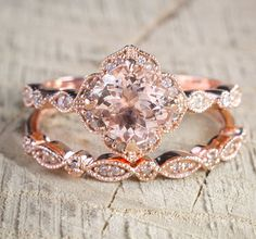Limited Time Sale 2 carat Round Cut Morganite and Diamond Halo