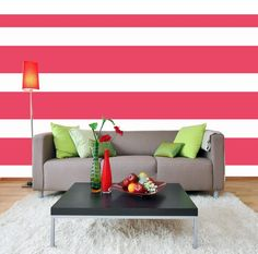 Stripe walls give the room a bold punch. These are decals so no need to deal with paint!