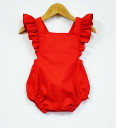 Australian orders of 2 or more items will be sent Priority Shipping at business days estimate. Fabulous Vintage Style Retro Baby Girl Red Romper with Flutter Sleeve and Ruffles Best quality childrens clothing Ive ever seen. Red Romper, Baby Girl Romper, Cute Baby Girl, Baby Girl Dresses, Baby Dress, Dress Red, Baby Baby, Baby Ruffle Romper, Fashion Kids