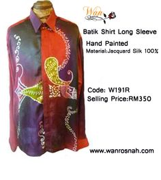 Batik Shirt Long Sleeve Hand Painted in Jacquard silk 100%. Why not send someone special a gift!  Gift wrap batik shirt and ready to ship anywhere in the world! Available all sizes:S/M/L/XL/XXL. Shop online:http://www.wanrosnah.com/batik-long-sleeve-shirt-silk.html