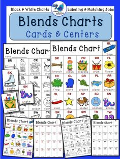This INITIAL BLENDS set includes charts, literacy sorting centers, and a full set of larger color cards to match the charts! Also available in Digraphs and Beginning Sounds Alphabet, or all three bundled for savings. $ Whimsy Workshop Teaching