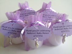 30 Lavender Baby Shower Favors - Candle in an Organza Bag with a Charm and Tag