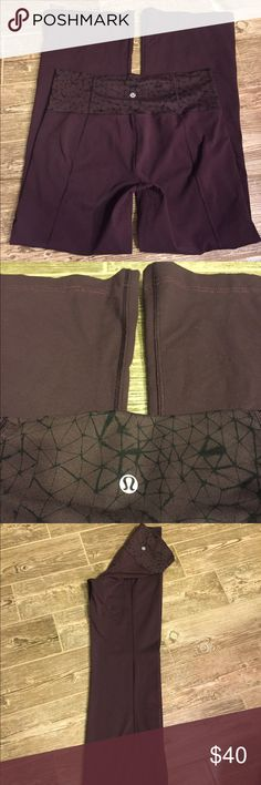 Lululemon pants Size 10 Reg Lululemon pants:  - Dark Deep Purple with Black around the waist band.  Wide at the bottom of legs.   - Lululemon Decal on back is in tact and not  peeling at all.   -Good used condition: some piling in the high upper inner thigh area, which you really can't see when you have then on.  No stains or rips.   -size  10 Reg lululemon athletica Pants Track Pants & Joggers