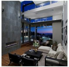 modern living room with high ceiling design