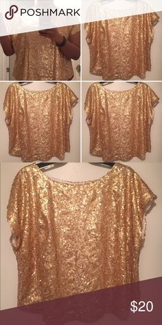 Gold Sequin Top Size XXL...true to size...NWT Tops