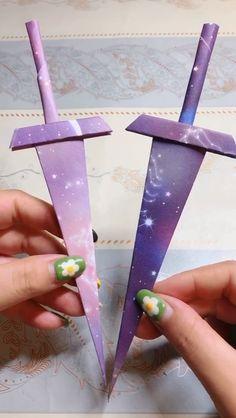 Easy Origami Sword Tutorial DIY Paper Crafts - My best diy and crafts list Paper Crafts Origami, Easy Paper Crafts, Diy Origami, Diy Arts And Crafts, Creative Crafts, Diy Paper, Easy Crafts, Crafts For Kids, Oragami
