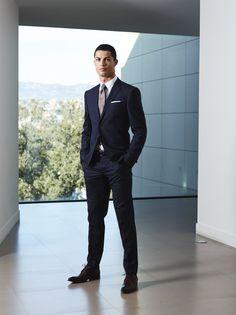 Cristiano Ronaldo in a Sacoor Brothers blue suit #cristianoronaldo