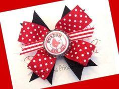 Get ready for opening day!  Boston Red Sox Hair Bow Baseball Sports by A Priceless Princess, $7.95