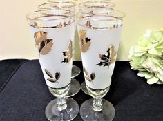 Beer Glasses Gold Leaf Frosted Libbey Set of 6 Pilsners Bar Drink Party blm