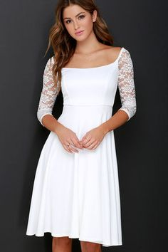 Central Square Ivory Lace Midi Dress
