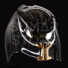 The Predator Motorcycle Helmet Black And Gold Fangs (Dot Certified) Motorcycle Events, Custom Motorcycle Helmets, Custom Helmets, Motorcycle Gear, Biker Helmets, Half Helmets, Biker Gear, Women Motorcycle, Helmet Accessories