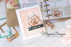 Mayras Designs: Magnolias Planner Spread and Card , Altenew, Neat & Tangled, Planner Spread, Mini Happy Planner ,