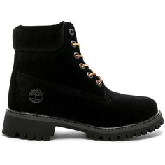 OFF-WHITE Timberland Boot (1,245 CAD) ❤ liked on Polyvore featuring shoes, boots, ankle booties, ankle boots, laced ankle boots, velvet boots, velvet booties and lace-up bootie