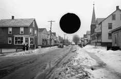 Untitled photo, possibly related to nearby photo captioned: South River, old high school at traffic junction, New Jersey. February, 1936. Carl Mydans/LOC. Negative hole-punched by Farm Security Info. Div.   via The Atlantic