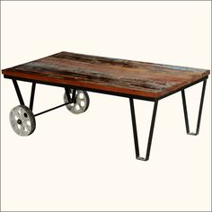 Add the flavor of industrial design to your living room with this Reclaimed Wood Industrial Style Factory Cart Coffee Table. This factory cart coffee table will add new excitement to your family conversations. It is built in an old factory cart style. The table top is made of old reclaimed solid wood which has its own history. The rustic coffee table top features naturally aged and distressed colors. The reclaimed wood top is framed in wrought iron and held in place by two iron legs and two…
