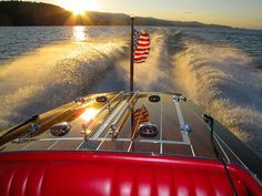 Flathead Lake Montana and old patriotic wooden boats. LOVE