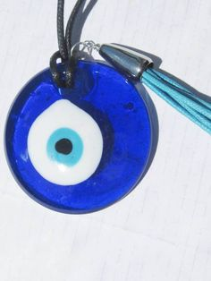 Large Evil Eye tear drop necklace Ethnic Tallisman MATI