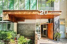 20 Stewart Lofts-20 Stewart St #402   Bright South facing 1 bedroom, 1 bath, with Juliet balcony in prime King West! More info here: torontolofts.ca/20-stewart-street-lofts-lofts-for-rent/20-stewart-st-402 Concrete Column, Concrete Ceiling, Exposed Concrete, Juliet Balcony, Lofts For Rent, Granite Counters, Open Concept, Garage Doors, Outdoor Decor