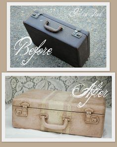 Extremely unattractive suitcase gets a facelift with ASCP & wax.  Now maybe some of these suitcases will find homes!  Inspiration. One Girl In Pink: Made Pretty With Paint