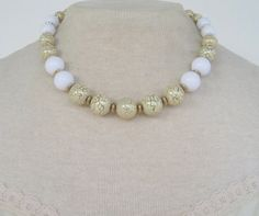 Vintage 60s Retro Kitsch Signed Japan White Lucite Metallic Gold Crackle Graduated Bead Necklace by ThePaisleyUnicorn, $7.00