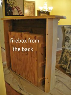 back of faux fireplace