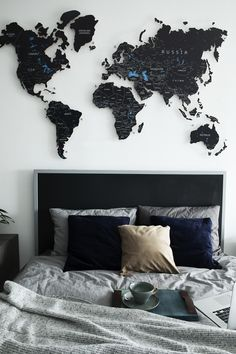 Black Push Pin Travel World Map (can be in any language) by GaDenMap. Push Pin travel map for wall office decor, bedroom, living room, kid's room decorating. Unique gift idea for travelers Bedroom Themes, Home Decor Bedroom, Living Room Decor, Black Bedroom Decor, Travel Room Decor, World Map Wall Decor, Aesthetic Rooms, Blue Aesthetic, Black Decor