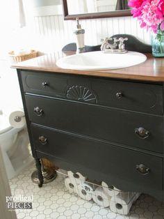 Bathroom Inspiration: Using a Dresser as a Vanity -