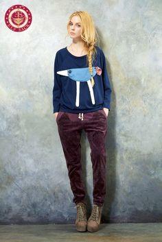 Womens Funny Cute Splice  Long Sleeve Tshirts  Girls Blue Clothes