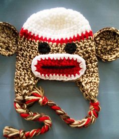 Love this sock monkey beanie! - Click image to find more Holidays & Events Pinterest pins