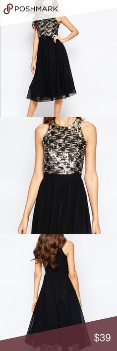 Little Mistress Tall Black Disc Embellished Dress Little Mistress Tall Disc Embellished Bodice Midi Prom Dress. Top has disc sequins in gold and silver and bottom is chiffon. Gorgeous!! Little Mistress Dresses Midi