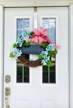 Blue Hydrangea Wreath Welcome Home Door Greeting Summer
