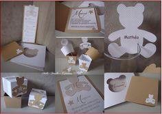 """COLLECTION BAPTEME """"MON AMI TEDDY""""-boîtes dragées, faire-part, menu etc ...uniquement sur commande : Autres bébé par millefeuille-creations"""