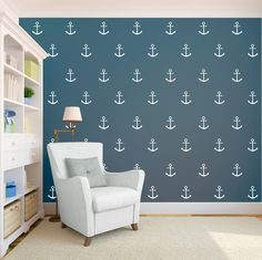 Anchor Nautical Modern Sailor Wall Pattern Removable Vinyl Wallpaper Pattern