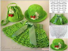 Crochet skirt & hat &bag set, HOW PRETTY ! FREE PATTERN--> http://wonderfuldiy.com/wonderful-diy-crochet-skirt-hat-bag-set-for-little-girls/ #DIY #crochet #freepattern