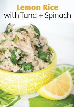 Lemon Rice with Tuna and Spinach | Looking for a protein-packed lunch that won't weigh you down? Check out this easy recipe with hints of citrus flavor and healthy nutrients for a quick lunch or snack.